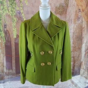 Pea Coat Size Large pea green color